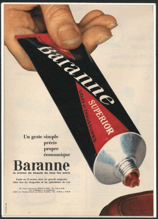 Baranne creme beaute cuir publicite sieges chaussures publicite  Baranne
